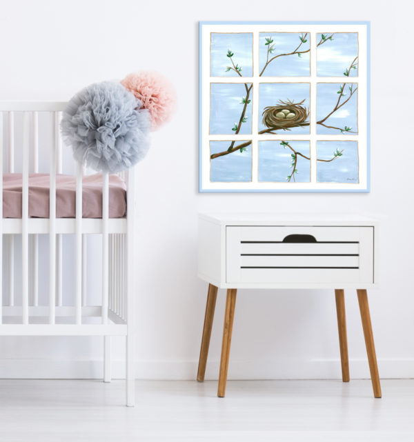 Sherri Blum Nursery and Kids' Wall Art, Blue Happiness Nest