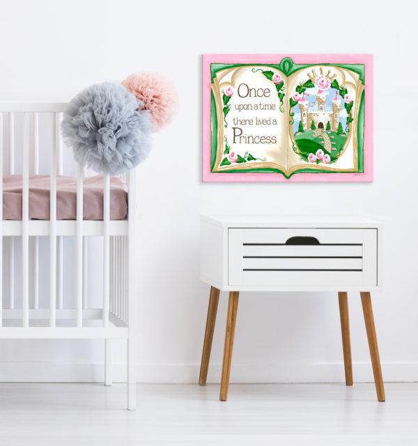Sherri Blum Nursery and Kids' Wall Art Canvases, Pink Princess Storybook