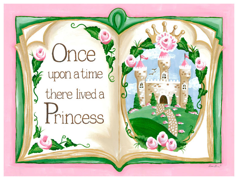 Princess Decor, Once Upon a Time Storybook – Pink Wall Art – Sherri Blum