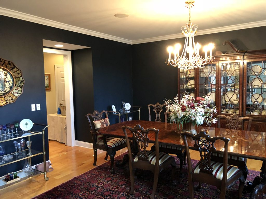 Navy Blue Black Dining Room, brass bar cart.