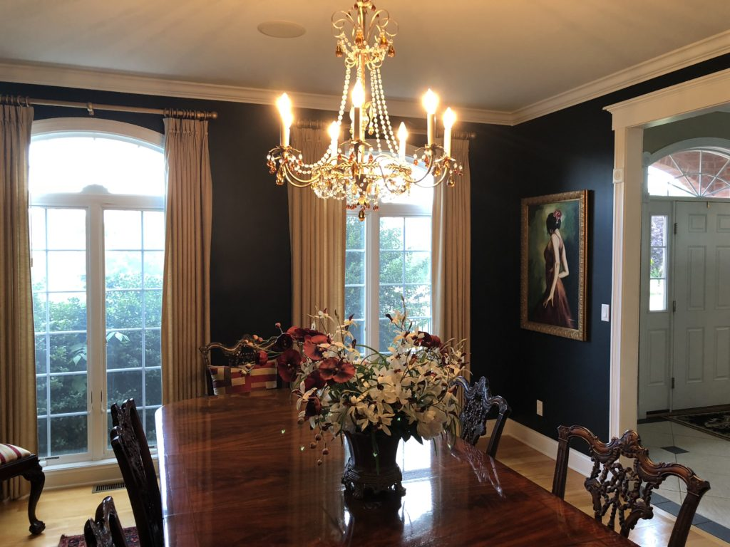 Navy Blue Black Dining Room, Classic Traditional