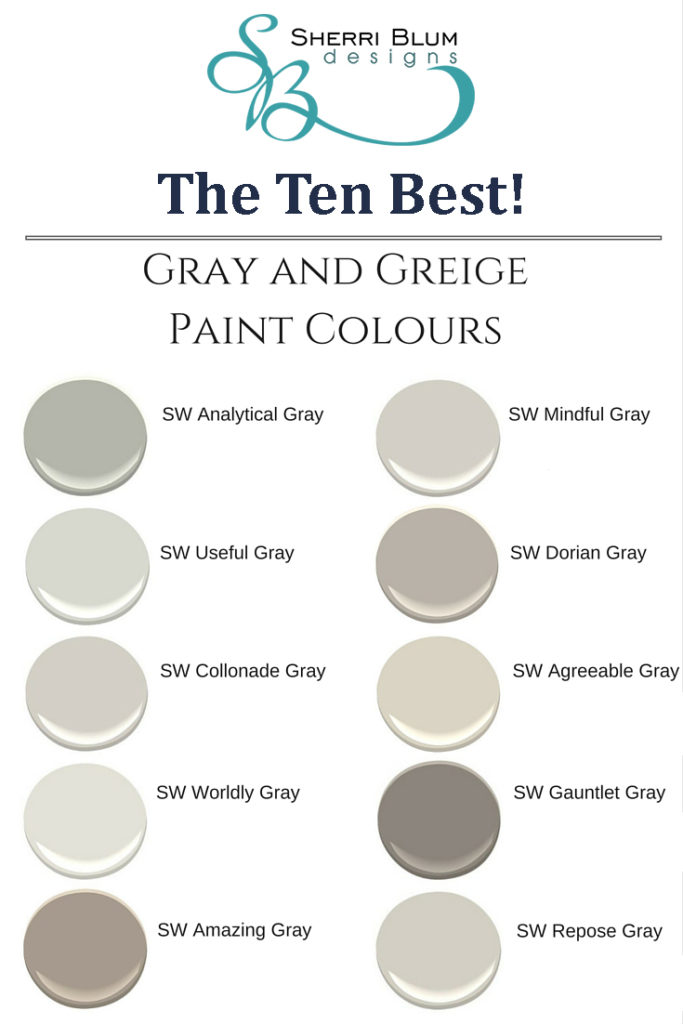 Best SW Grey and Greige Paint colors by Sherwin Williams