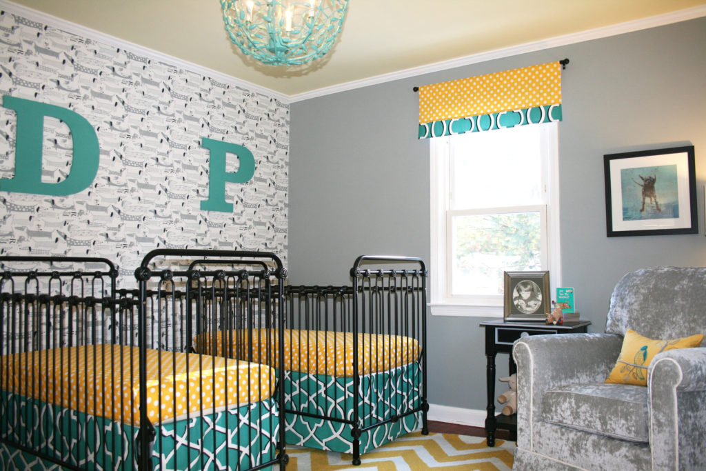 Twins Nursery Boy and Girl by Sherri Blum, celebrity designer of Jack and Jill Interiors. Dog Theme.