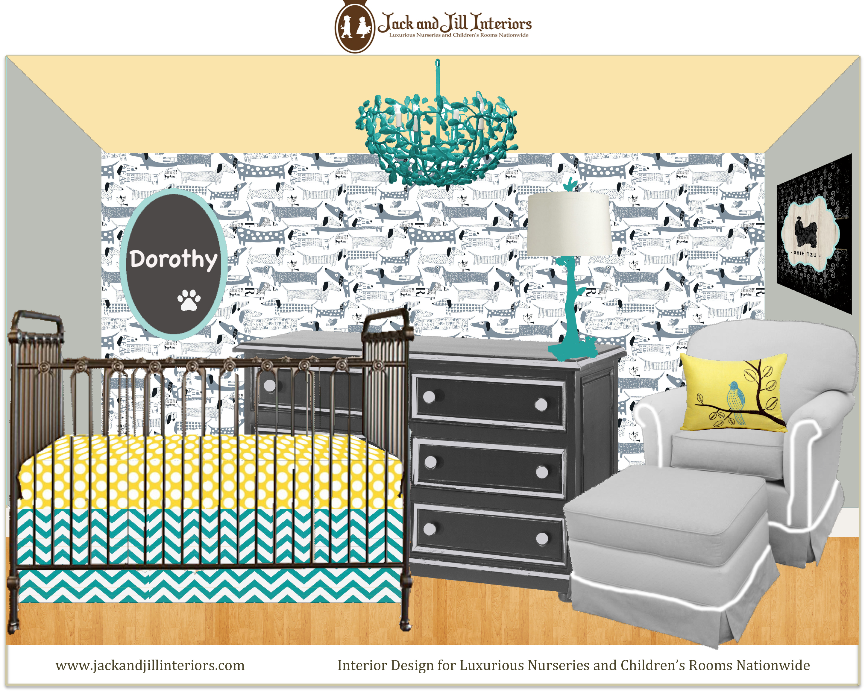 E design twins nursery by Sherri Blum