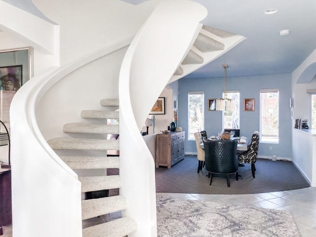Spiral Staircase. Beach home design project and decor.