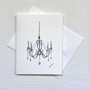 Chandelier Art Invitiation Blank Notecard Greeting Card