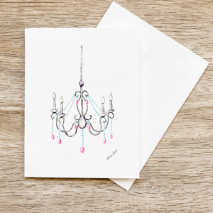 Let's Get Fancy Chandelier Invitation Greeting Card Notecard