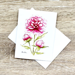 Pink Peonies Greeting Card Notecard Invitations by Sherri Blum