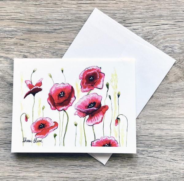 Poppies Notecards by Sherri Blum