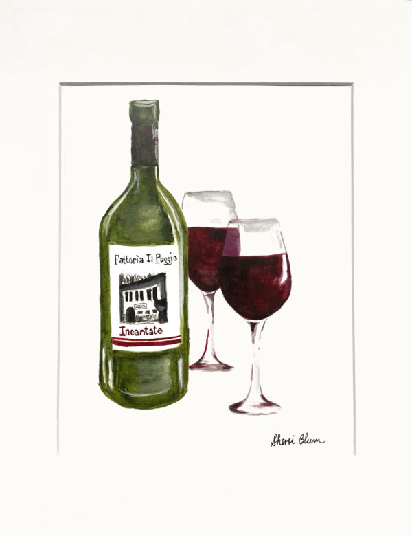 Red Wine Bottle and Glass Watercolor Art Print by Sherri Blum