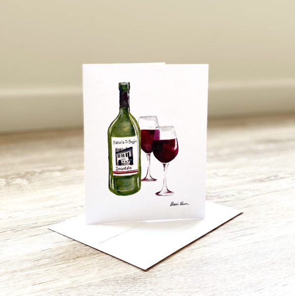 Italian Wine Bottle Glass Invitations Notecards