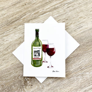 On Italian Time Red Wine Bottle Glass Greeting Note Card