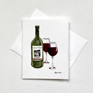 Italian Time Wine Bottle Glass Notecards