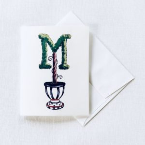 Topiary Monogram Custom Greeting Cards Notecards by Sherri Blum