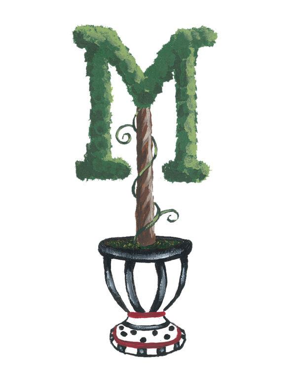 Topiary Monogram Letter Personalized Art by Sherri Blum